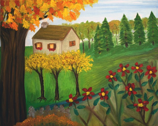 Autumn Cottage oil painting by Natalie Buske Thomas
