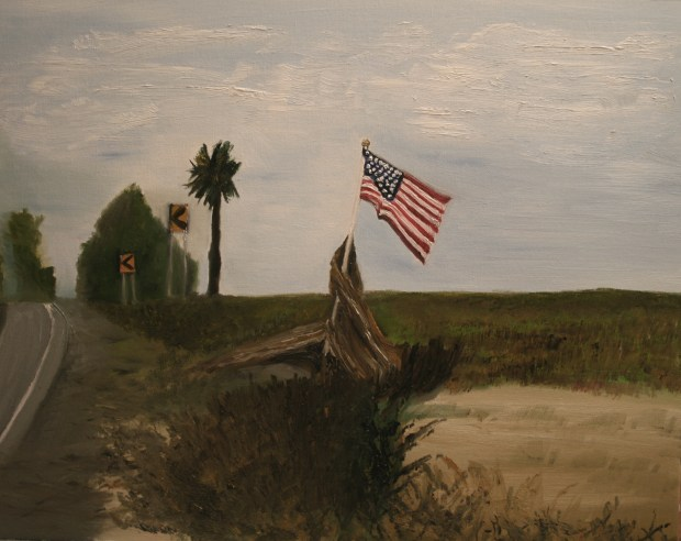 Oil Painting of American Flag on Tybee Island by Natalie Buske Thomas
