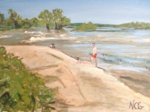 "Original Oil Painting-Scenes of Richmond:""Bathers on the Rocks on Belle Isle"" Oil on Canvas, 18"" x 24"""