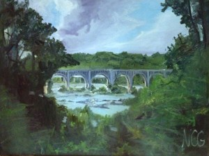 "Original Oil Painting-Scenes of Richmond: ""Bridge Over the James, Richmond, VA"" Oil on Canvas, 30"" x 40"""