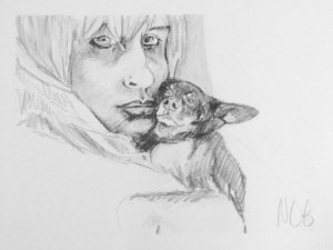 """Original Drawing: """"Chelsea and Freak"""" Graphite on Paper, 12"""" x 16"""""""