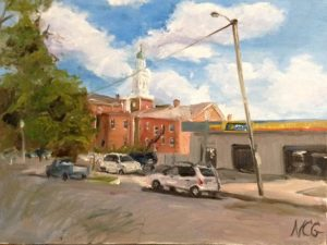 An oil painting of Devil's Triangle in Richmond, VA