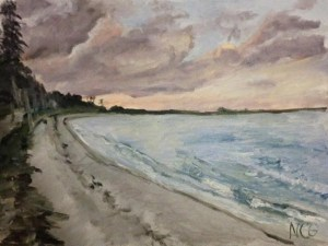 """Original Oil Painting: """"Hughlette Point Beach at Sunset"""" Oil on Canvas, 18"""" x 24"""""""