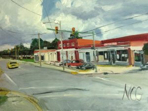 "Original oil painting-Scenes of Richmond: ""Krispies Chicken"" Oil on Canvas, 18"" x 24"""
