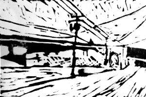 "Original Linocut Print: ""Lombardy Street"" Linocut Print on Paper, 4"" x 6"""