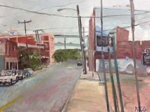 """Original Oil Painting-Scenes of Richmond: """"Lombardy Street Downtown"""" Oil on Canvas, 18"""" x 24"""""""