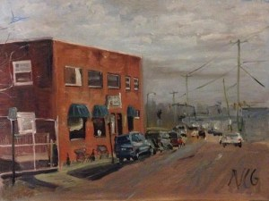 "Original Oil Painting-Scenes of Richmond: ""Moore Street Cafe"" Oil on Canvas, 18"" x 24"""