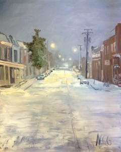 """Original Oil Paintings-Scenes of Richmond: """"Mulberry and Main, 1AM in the Snow"""" Oil on Canvas, 30"""" x 24"""""""