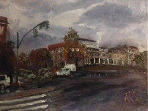 "Original Oil Paintings-Scenes of Richmond: ""Ominous Day on the Boulevard by the VMFA"" Oil on Canvas, 18""x24"""