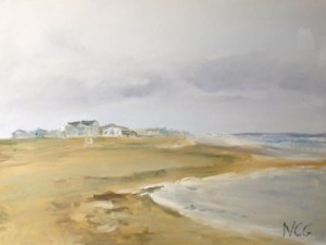 """Original Oil Paintings: """"Rainy Day at the Beach"""" Oil on Canvas, 18"""" x 24"""""""
