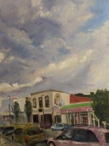 "Original oil painting-Scenes of Richmond: ""Sky in Carytown After a Storm"" Oil on Canvas, 24"" x 18"""