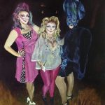 "Original Oil Painting: ""Three Fancy Ladies"" Oil on Panel, 16"" x 20"""