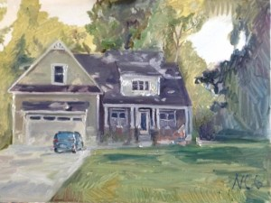 """House Portrait in Oil Painting: """"Untitled House Portrait"""" Oil on Canvas, 18"""" x 24"""""""