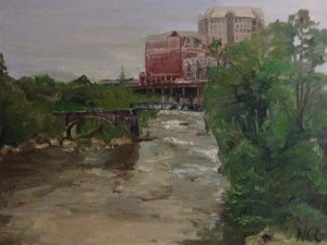 """Original Oil Painting-Scenes of Richmond: """"View of the James from the Bottom"""" Oil on Canvas, 18"""" x 24"""""""