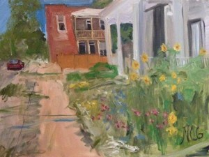 "Original Oil Painting-Scenes of Richmond: ""Yellow Flowers in the Fan"" Oil on Canvas, 18"" x 24"""