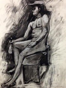 """Original Drawings-People and Portraits:""""Cowboy"""" Charcoal on Paper, 24"""" x 18"""""""