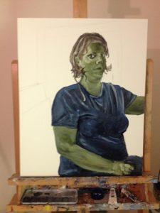 Painting Process: Terra Vert Underpainting