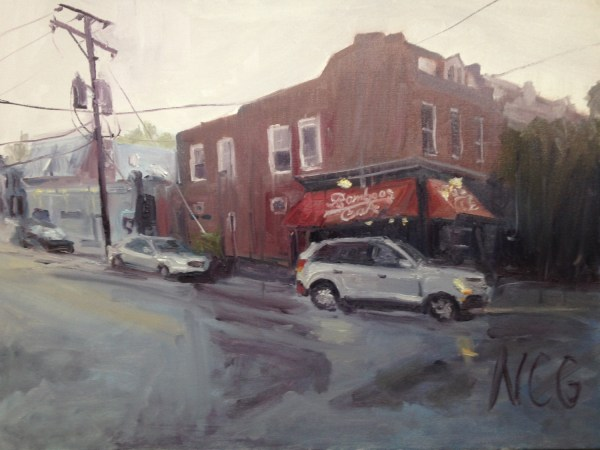 "Original Oil Painting-Scenes of Richmond: ""Bamboo Cafe in a Summer Evening Storm"" Oil on Canvas, 18"" x 24"""