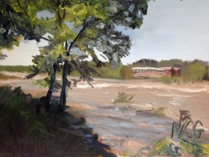 "Original oil painting-Scenes of Richmond: ""Muddy James River at Belle Isle"" 18""x24"""