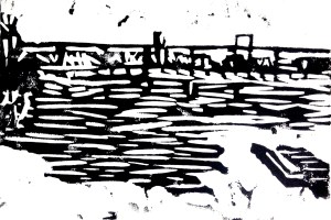 "Original Linoleum Block Print: View from Belle Isle Footbridge, 4"" x 6"""
