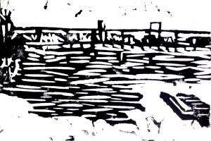"Original Linoleum Block Print: View from Belle Isle Footbridge, 4"" x 6"""