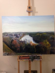 "Original Oil Painting: ""Libby Hill View of Richmond on the James"" on the Artist's Easel"