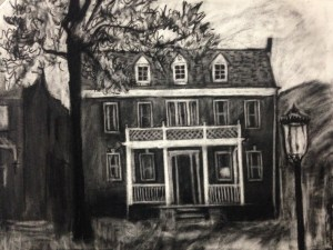"""Original drawing-house portrait: """"3311 Franklin Street"""" charcoal on paper, 19""""x22"""""""