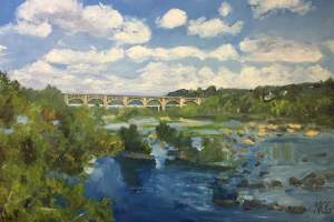 "Original Oil Painting of Richmond VA, ""Westward View From the Nickel Bridge"""