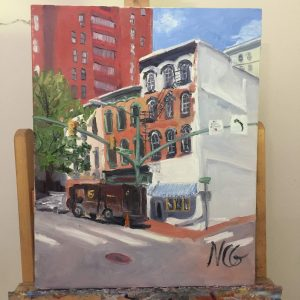 """Original Oil Painting: """"12th and Main, Richmond VA"""" on the Artist's Easel"""