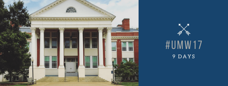 An image of Monroe, the History building at UMW with the school colors depicting hashtag UMW 17 with 9 days below it