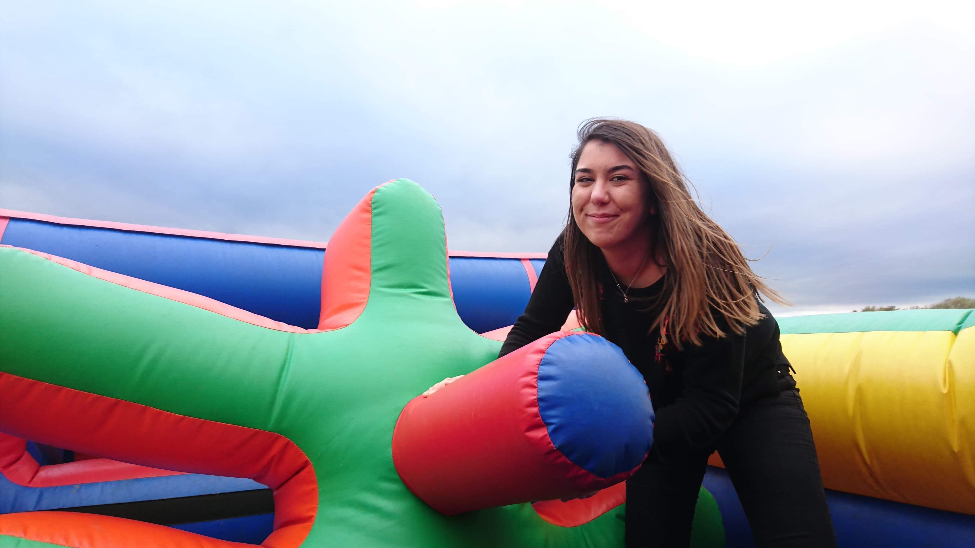 me on inflatable course