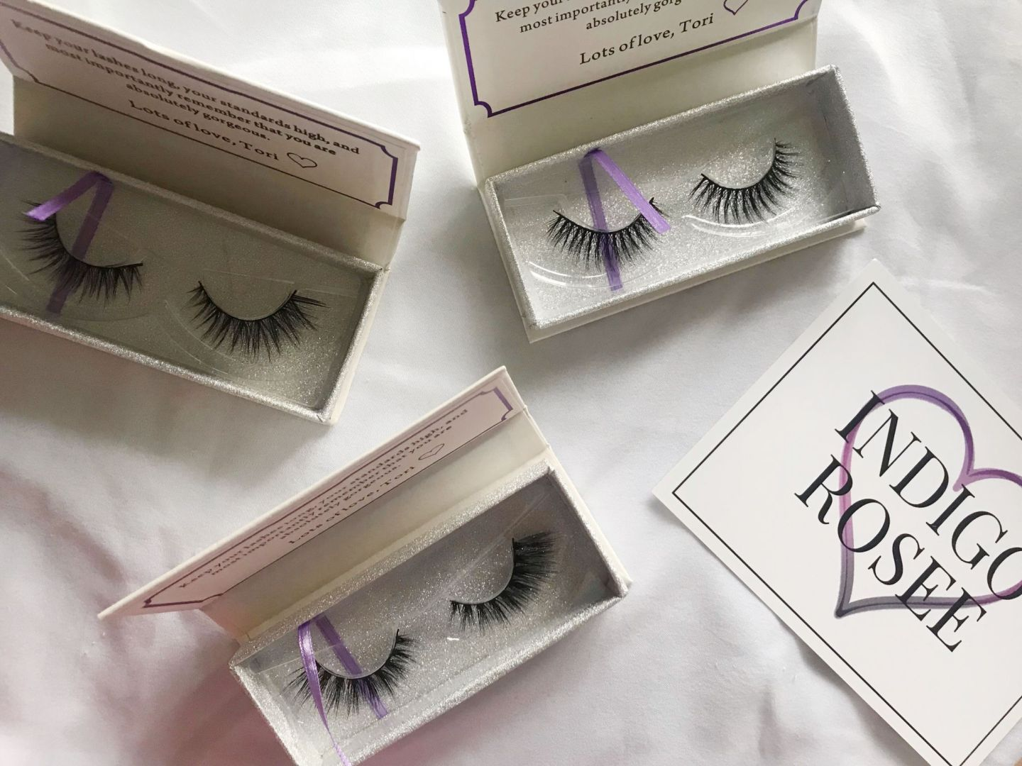 Indigo Rosee Beauty eyelash flat lay