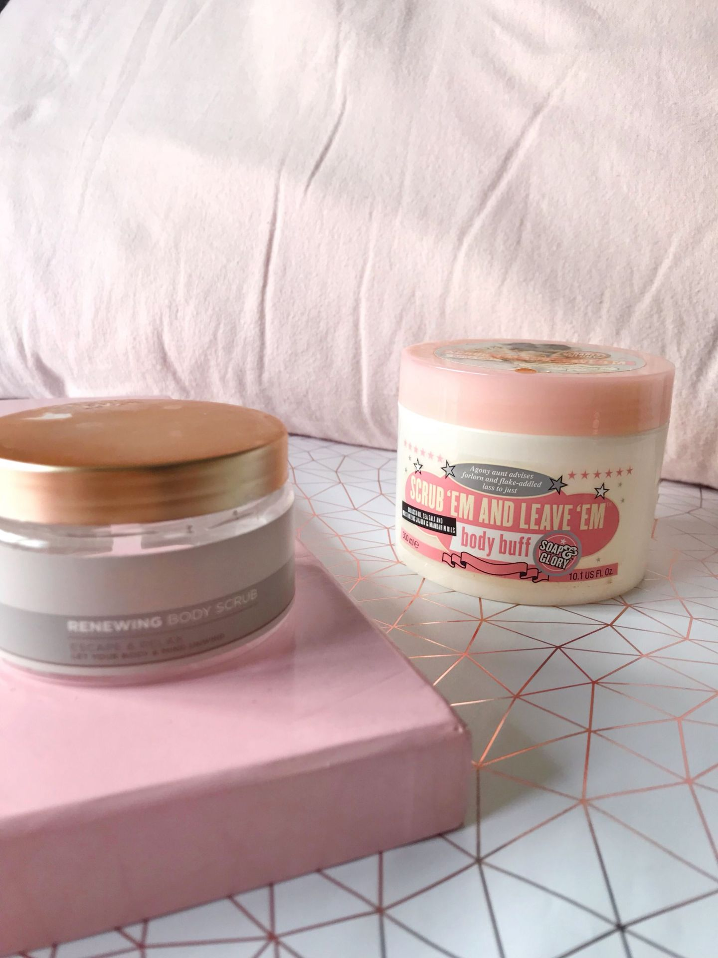 Superdrug scrub and Soap and Glory body buff