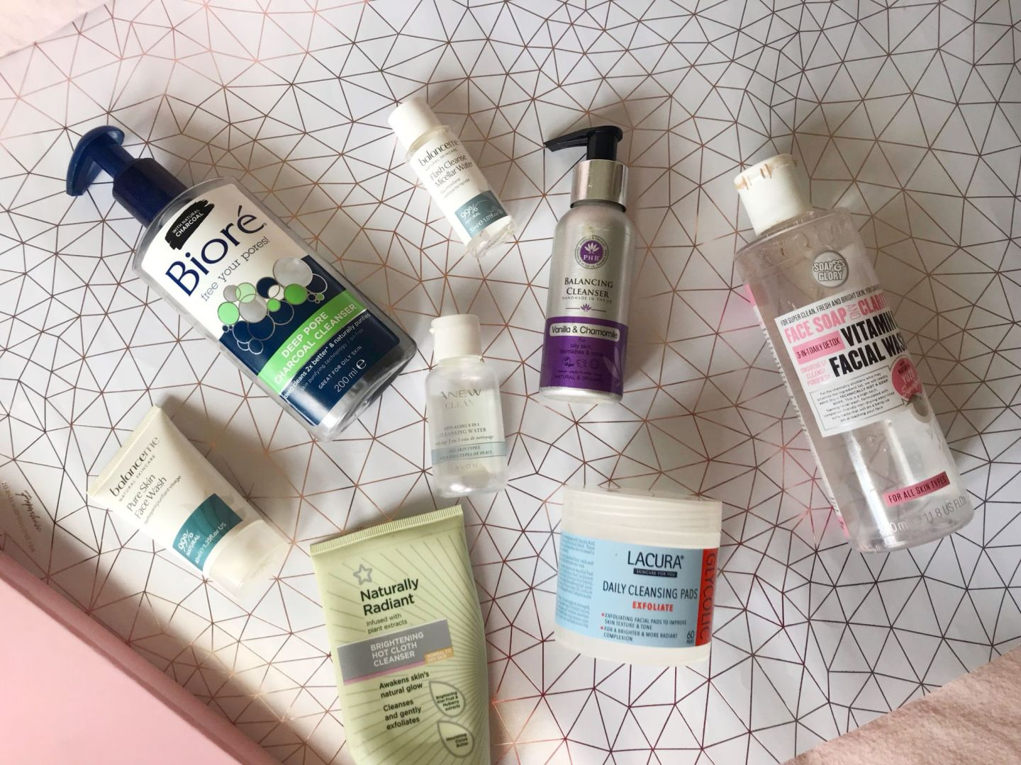 Flat-lay of all the cleansers