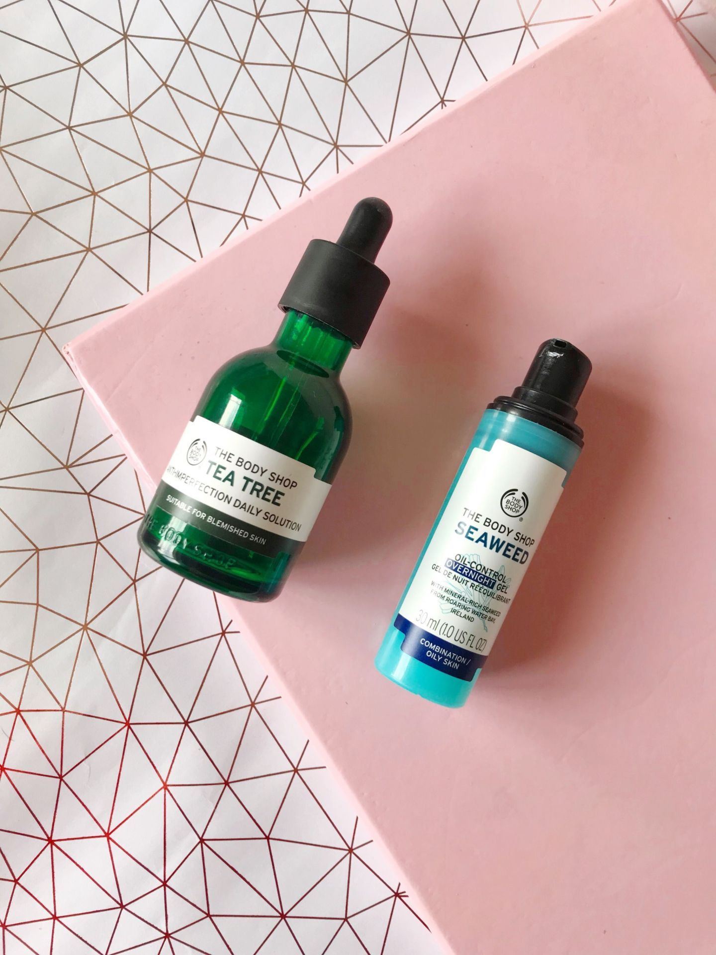 the body shop spot treatments and lotions - tea tree and seaweed range