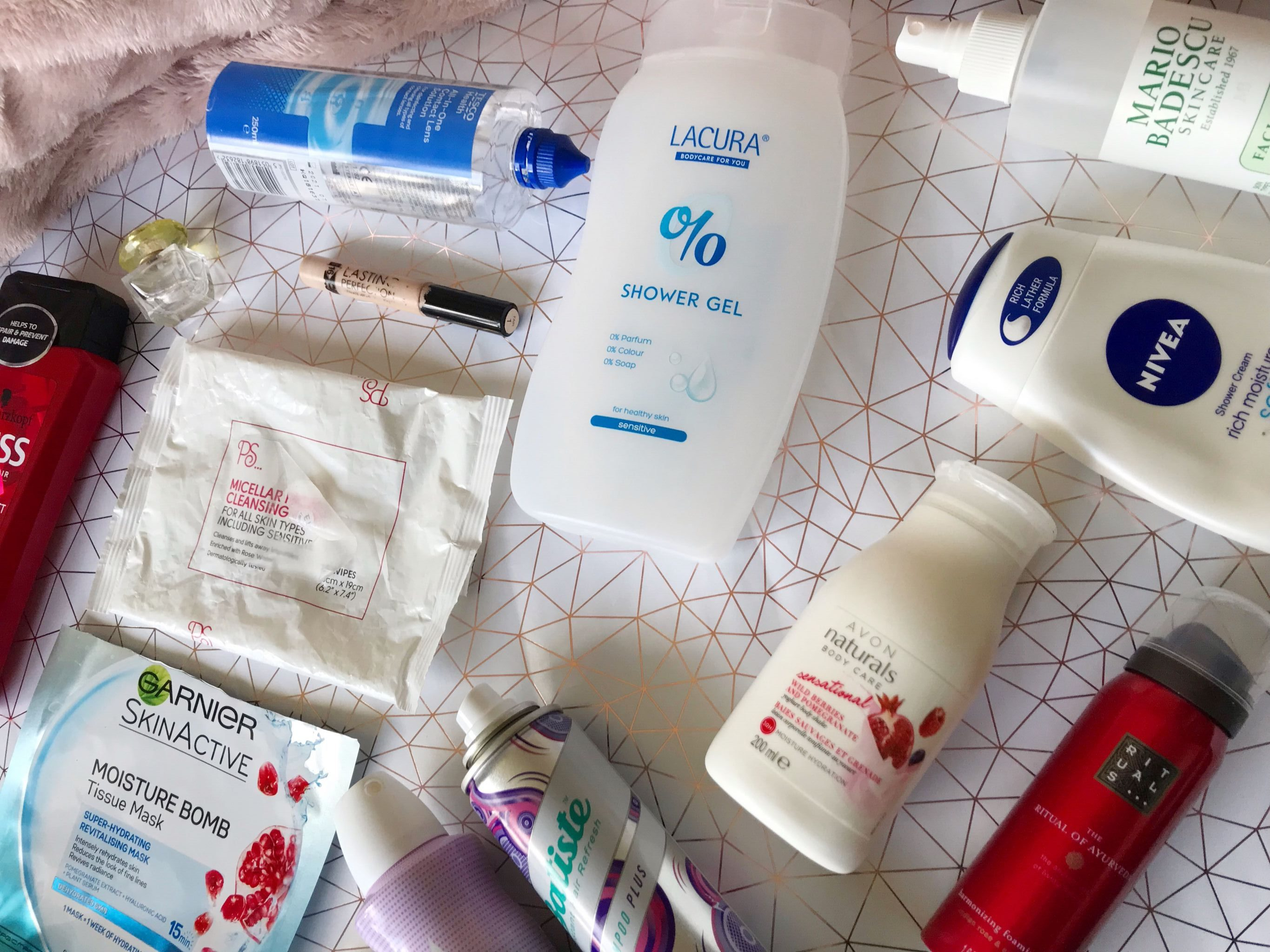 july empties flat lay