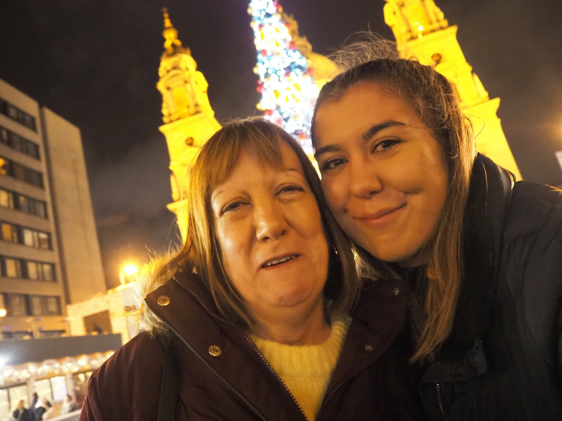 mum and I at Budapest Christmas Market