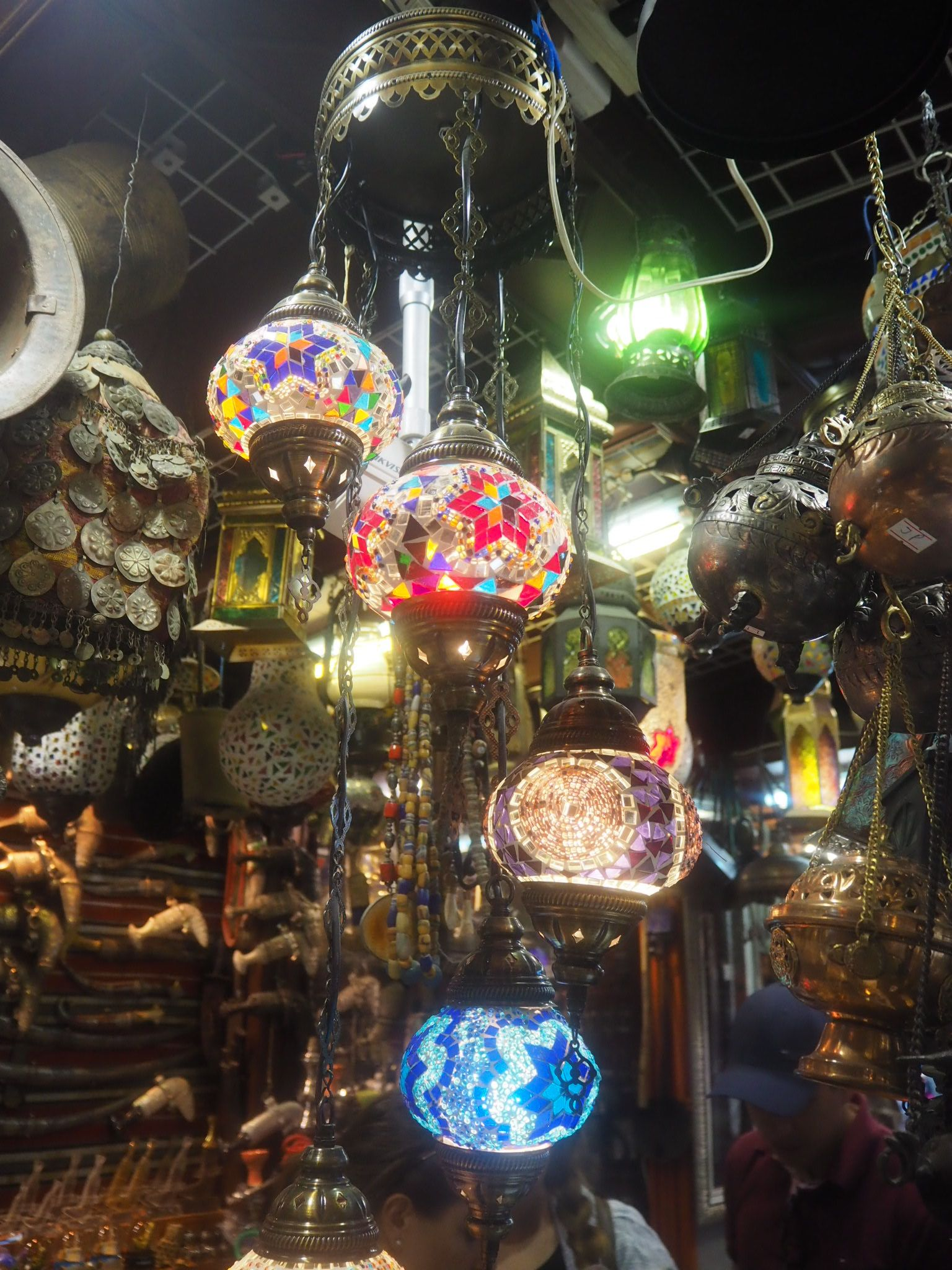 Muscat Souq - different coloured hanging lamps