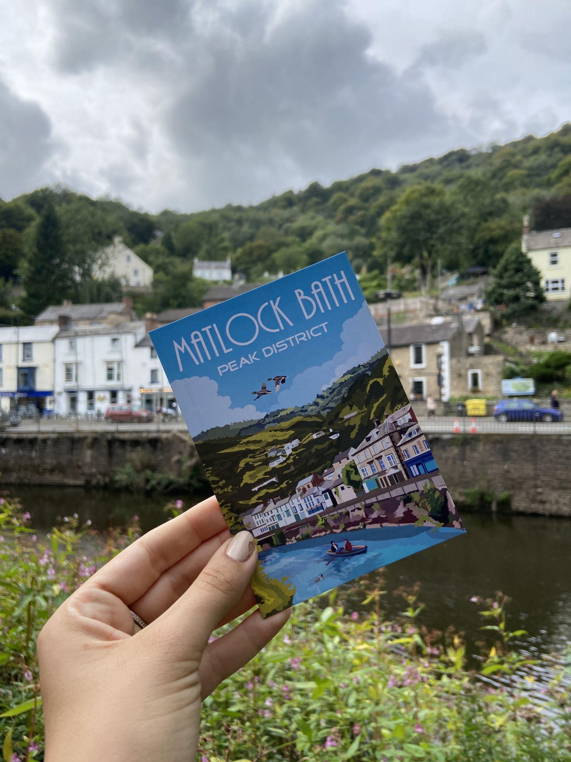 Matlock Bath (Peak District) postcard with the same view behind