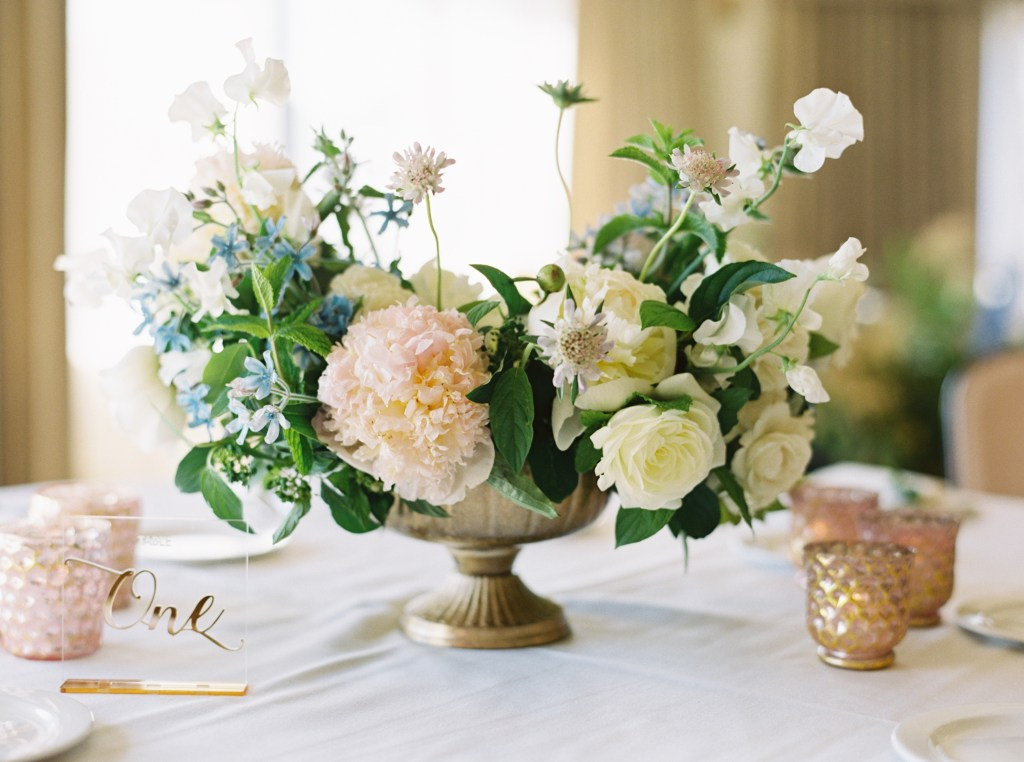 Wild Bloom Florals Peony Wedding Centerpiece and Acrylic Table Numbers -- by Blue Rose Photography