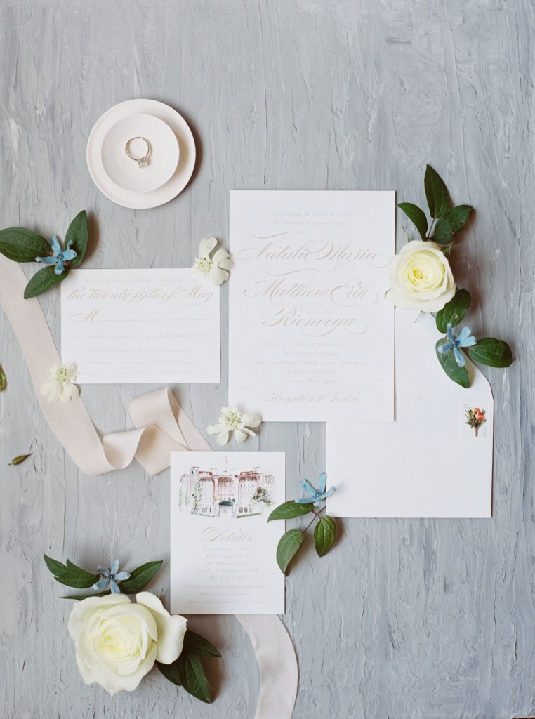 Empress Stationery Vera Suite Sorrento Hotel Seattle Wedding -- by Blue Rose Photography