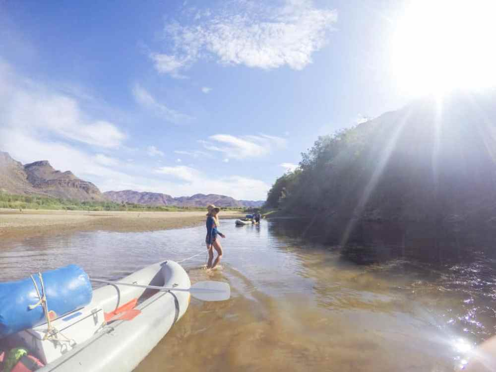 Children river rafting trip on the orange river