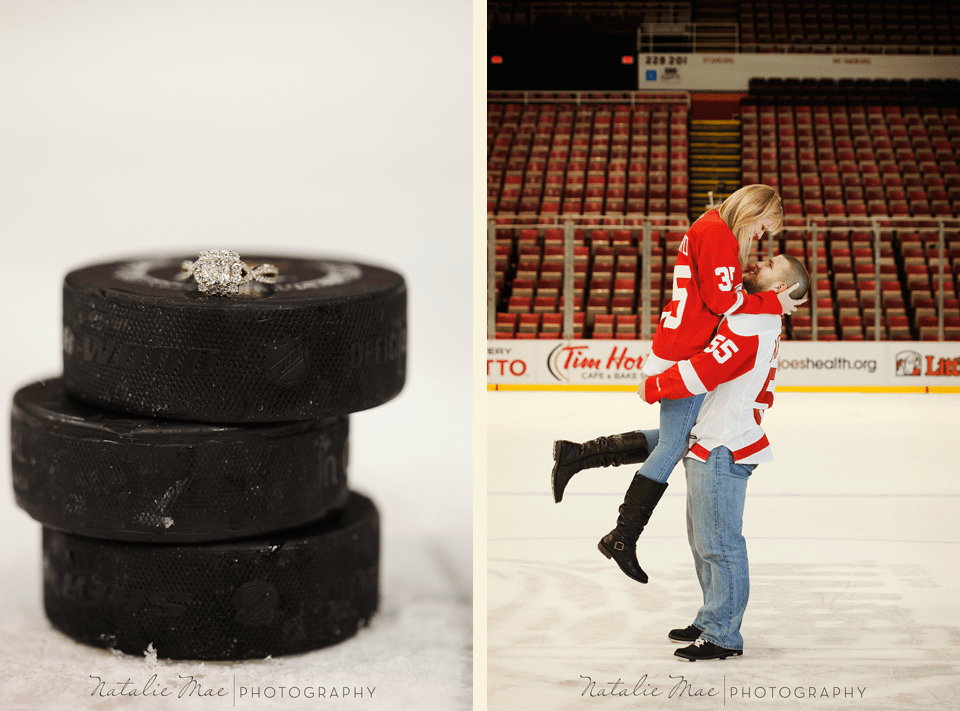 This engagement session turned up the heat when we got to the home of the Detroit Red Wings, Joe Louis Arena.