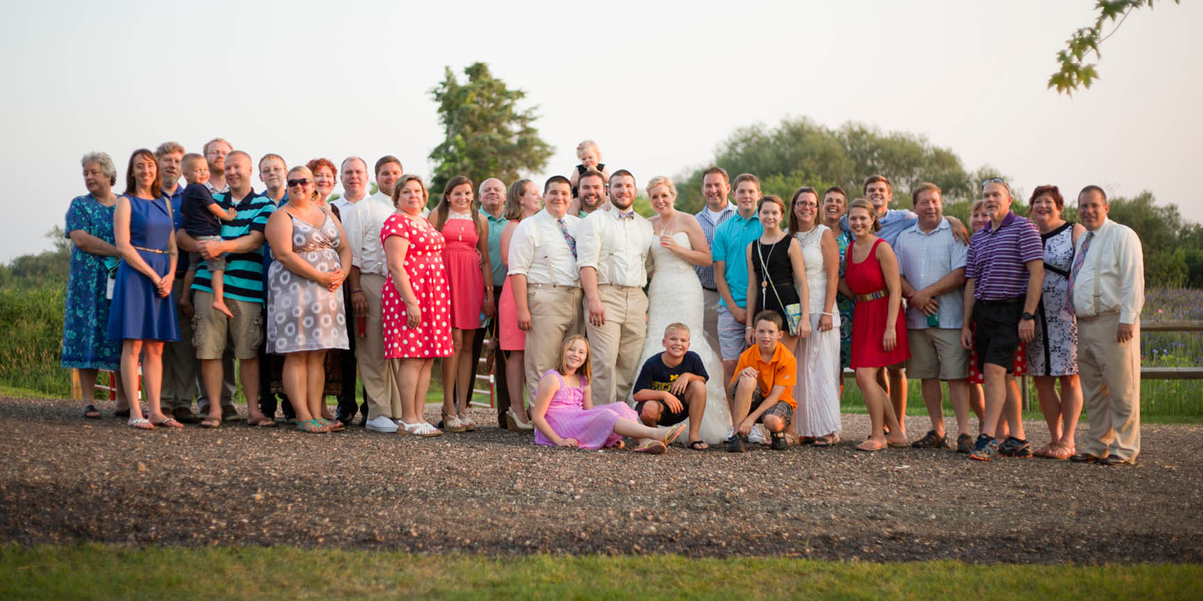 The groom's large family portrait.