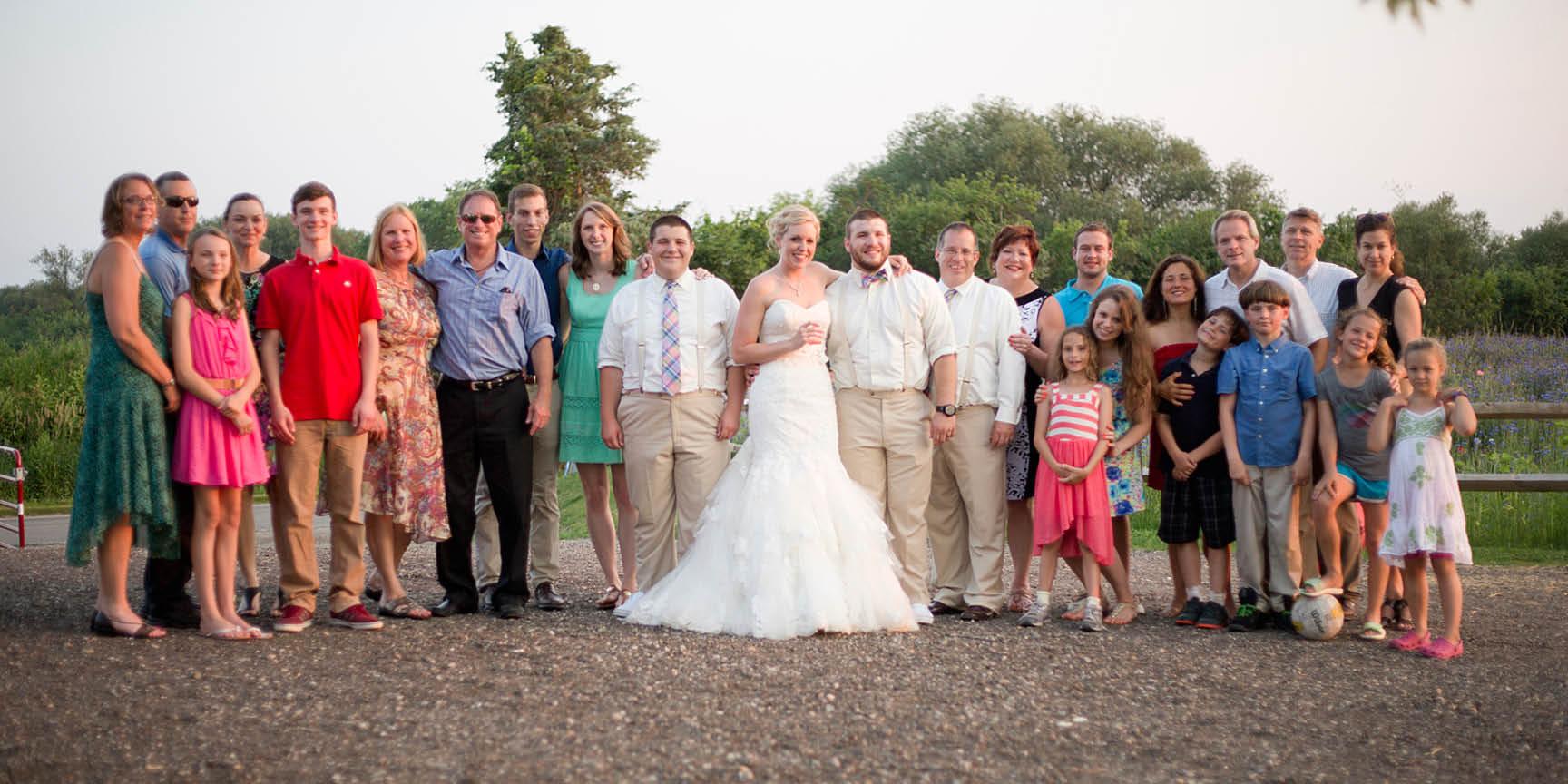 The bride's large family portrait.