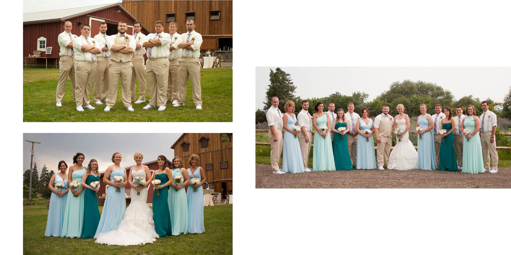 The bridal party poses in front of the barn at Misty Farms.