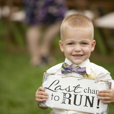 Michigan ring bearer - Last Chance to run sign - Michigan Area Wedding Photographer