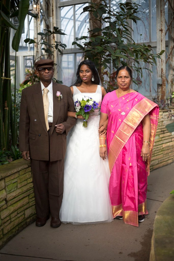 Lavender and her parents from India at their Michigan wedding