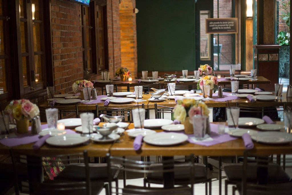 Place settings at Fishbone's in Detroit wedding reception