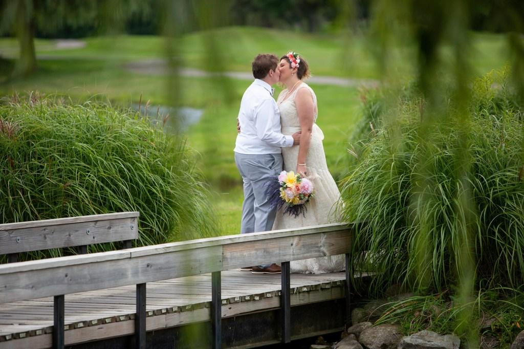 A private moment between Michigan LGBTQ wedding couple at their Novi wedding